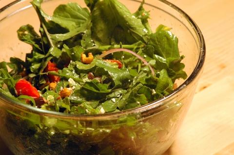 crispy chick pea salad with roasted eggplant and feta