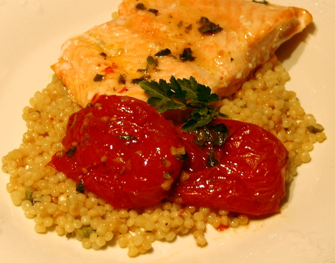 Salmon with Israeli couscous, slow-roasted tomatoes, and lemon oregano ...