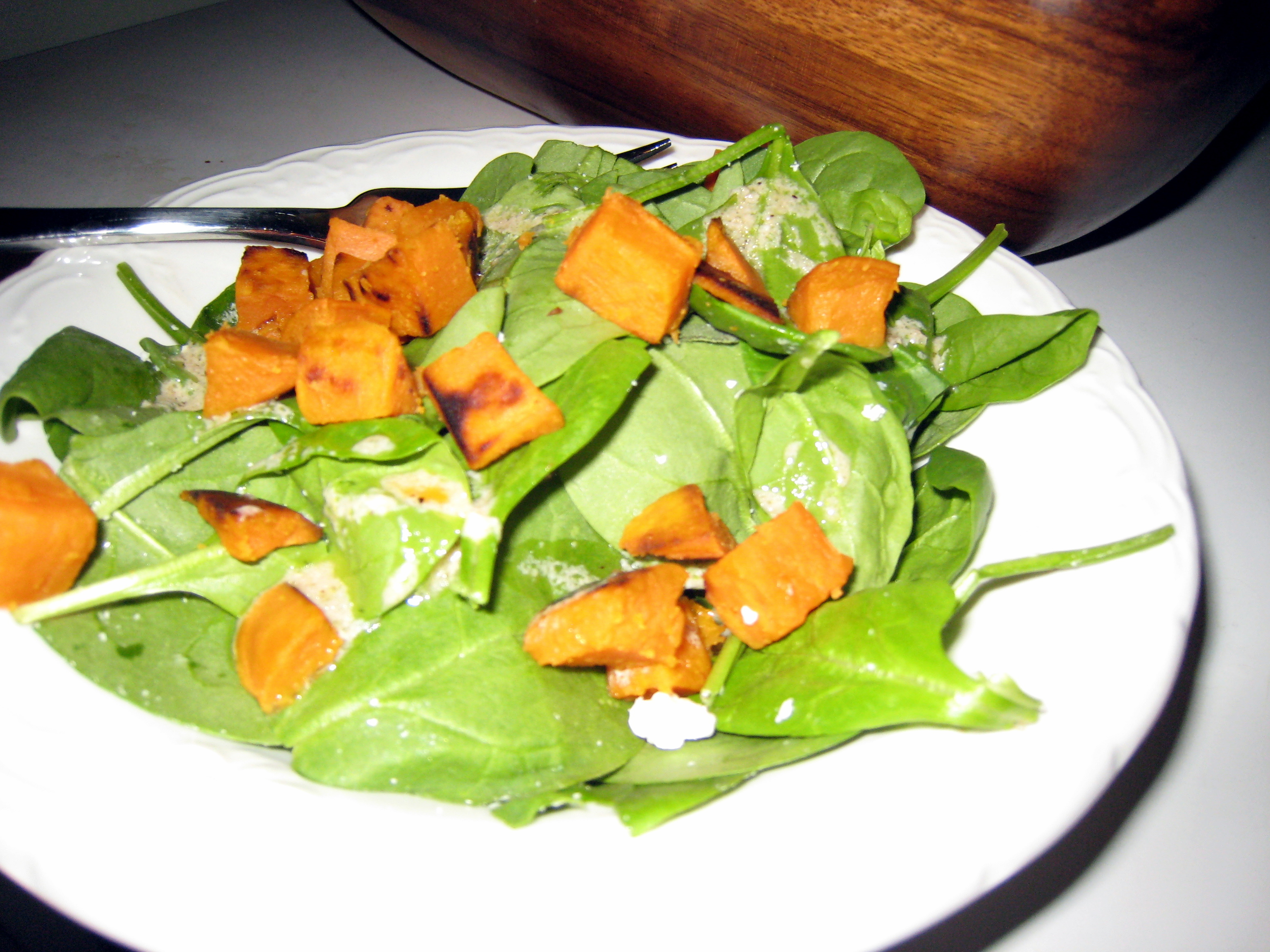 Salad greens with sweet potato croutons and feta December 30, 2008